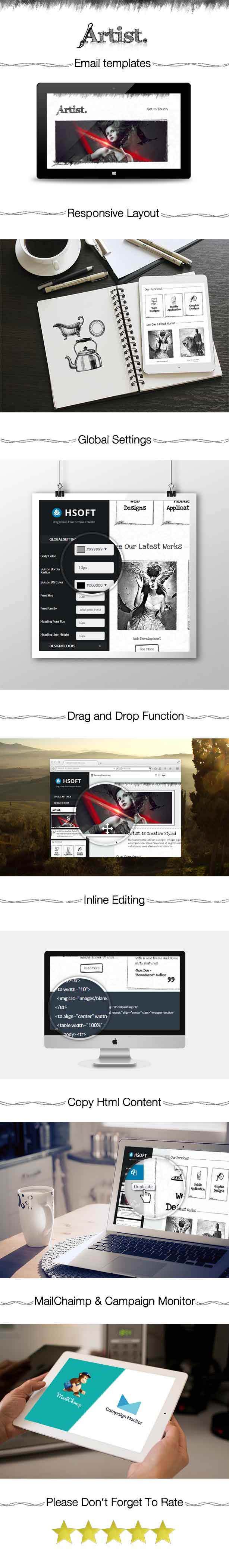 Artist - Responsive Email Template + Builder Access
